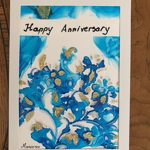 Alcohol ink painting card